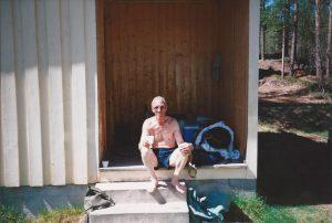 Svärfar på trappan 1995
